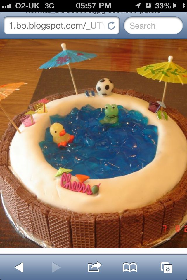 Pool Cake I Made A Version Of This Using Blue Jello In A