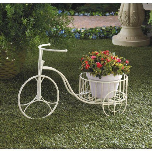 White Metal Tricycle Plant Holder Plant Stand Metal Plant Stand