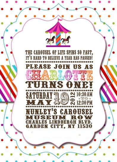 Carousel Rainbow theme party invitation Charlottes 1st birthday