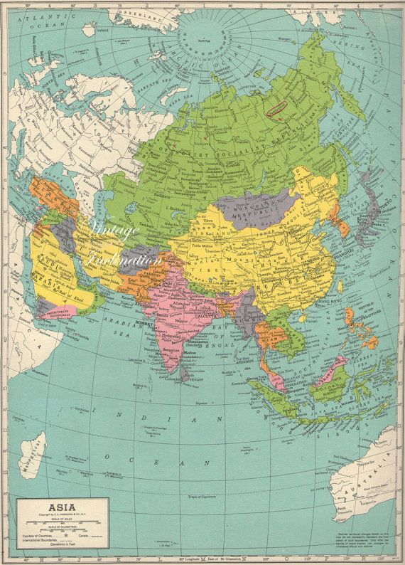 1940s Antique Vintage Map Asia By Vintageinclination On Etsy