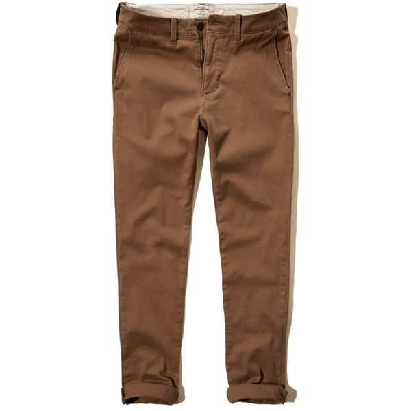 Hollister Super Skinny Zipper Fly Chinos ($15) ❤ liked on Polyvore  featuring men's fashion, men's clothing, men's pants, men's casual pants,  brown, mens ...