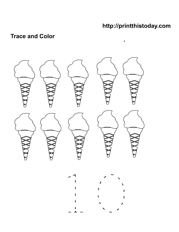 free printable ice cream number 10 | Free Printable Worksheets and ...