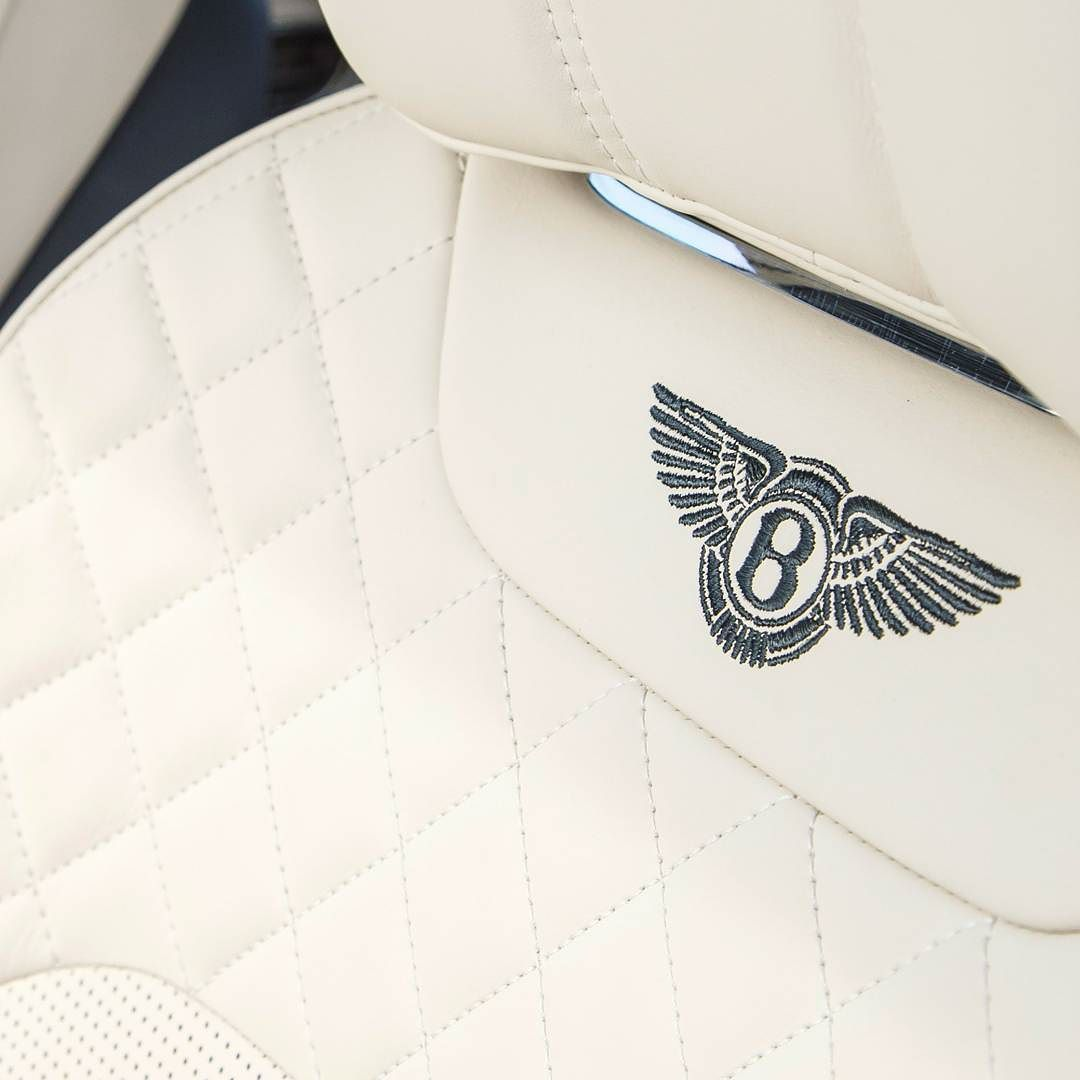#Bentaygas driving seat with quilted detailing. Linen leather with Linen stitching and a contrast Brunel embroidered Bentley logo - photo from @bentleymotors #Bentley #BentleyOrlando #FieldsMotorcarsOrlando #FieldsMCO #Orlando #Florida