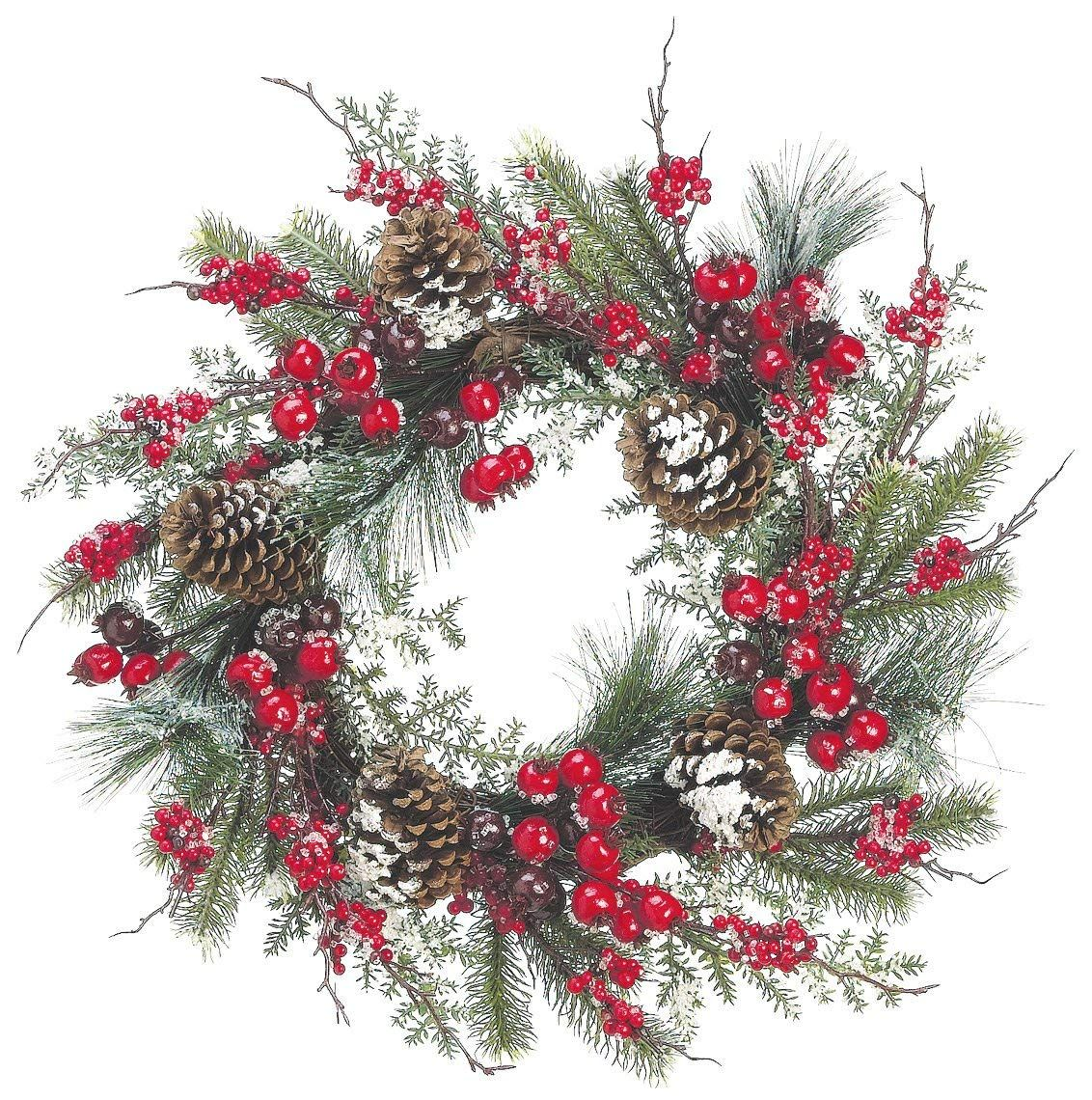 Amazon Com 24 Inch Iced Mixed Pine Christmas Wreath With Cranberry Red Berry And Pine Cone Artificial Christmas Wreath Home Kitchen Noel Fete Couronnes