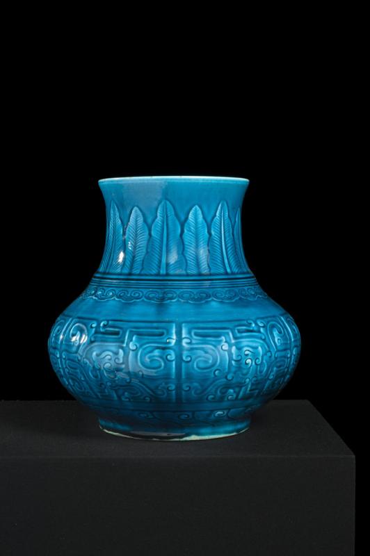 th odore deck vase balustre de style chinois archa que gla ure bleu turquoise d cor en l ger. Black Bedroom Furniture Sets. Home Design Ideas