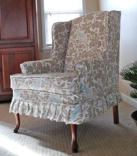 floral slipcovers for wingback chairs | Furniture & Accessories, Amazing Floral Slipcovers For ...