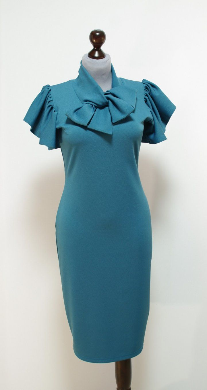 cedd167052bd916 Темно-бирюзовое платье-карандаш, рукава крылышки | Платье-терапия от Юлии