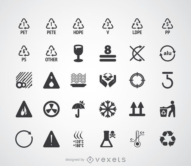 Recycling symbols and pictograms set #AD , #Sponsored, #AFFILIATE, #symbols, #pictograms, #set, #Recycling