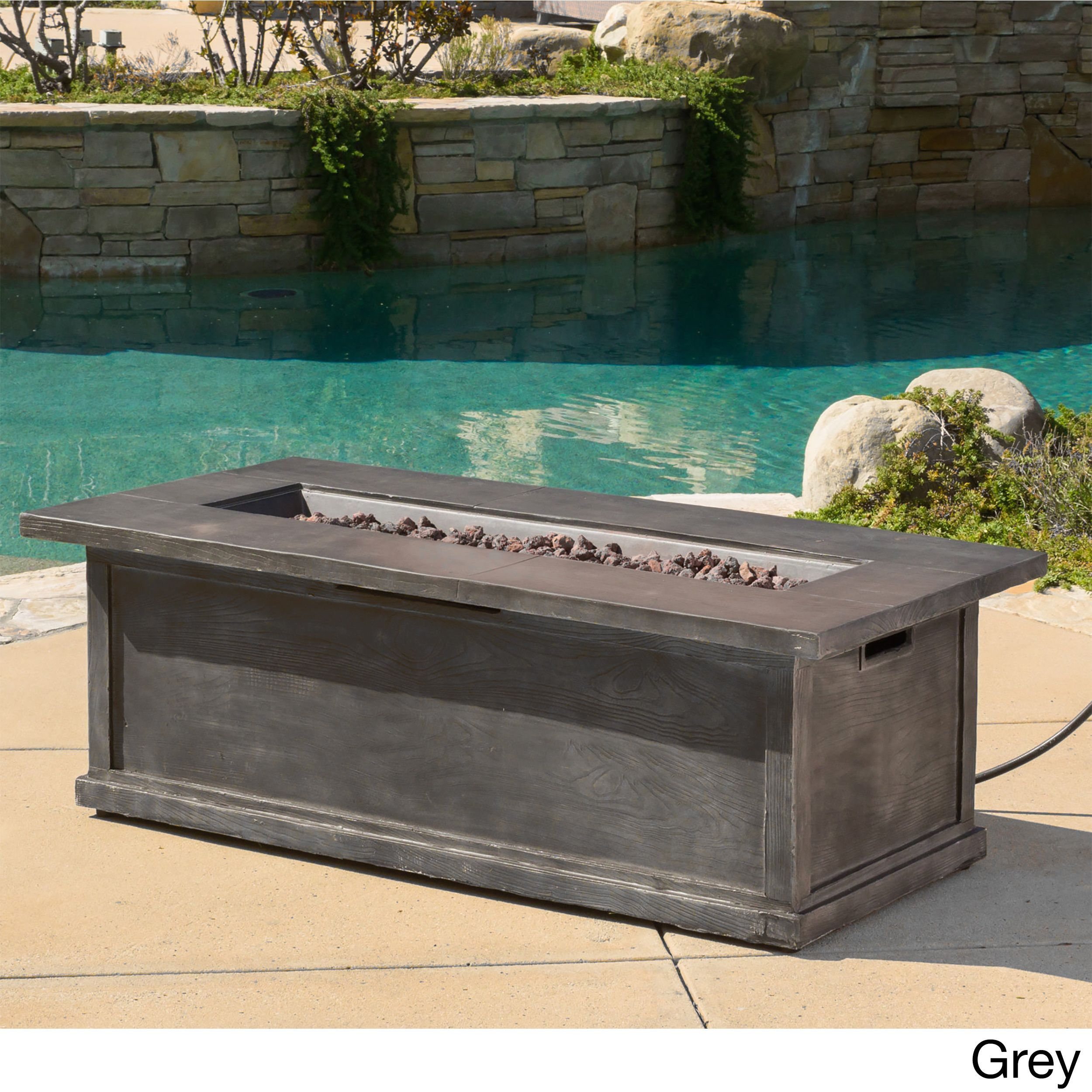 anchorage outdoor 56 inch rectangular liquid propane fire table with