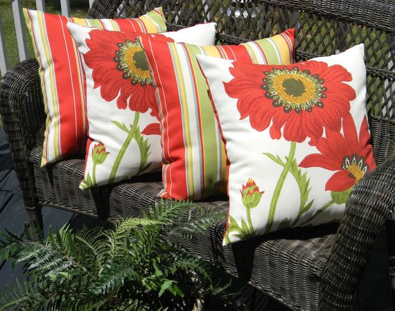 Set Of 4 20 Indoor Outdoor Throw Pillows By Pillowscushionsohmy 99 96 Outdoor Pillow Covers Throw Pillows Outdoor Throw Pillows