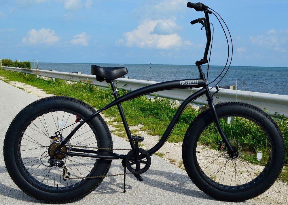 Fat Tire Beach Cruiser Bike Sikk Flat Black 7 Sd Cutout Rims Ebay