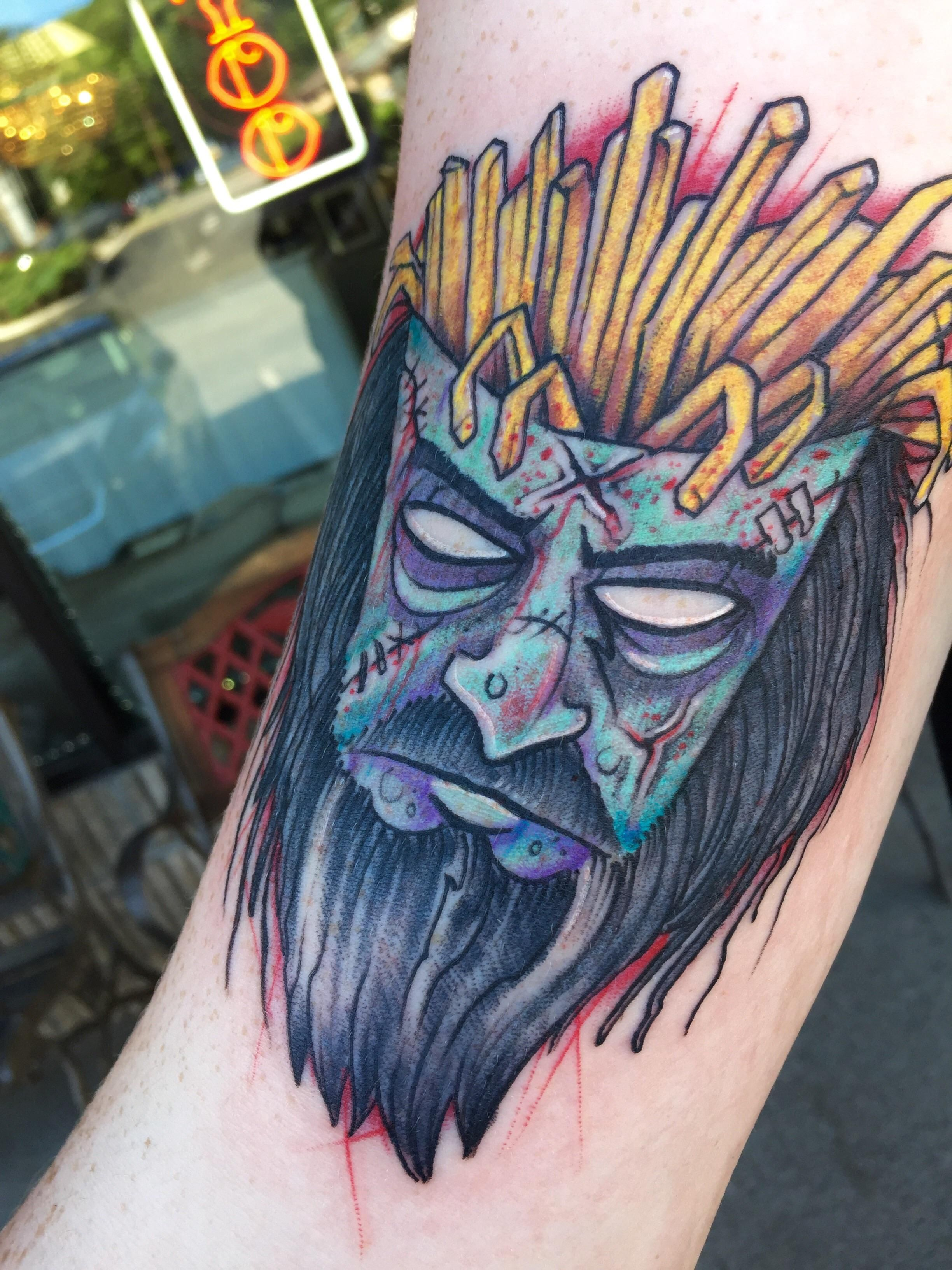 Frylock zombie done by shawn at north jersey tattoo in