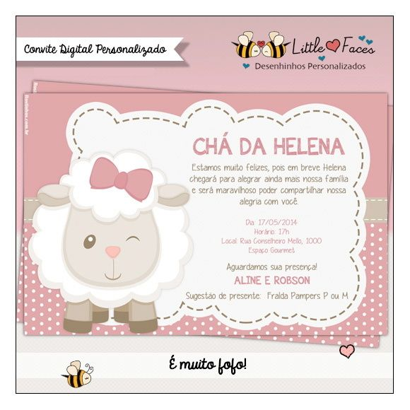 Convite Chá De Bebê Ovelha Digital Personalizados Pinterest