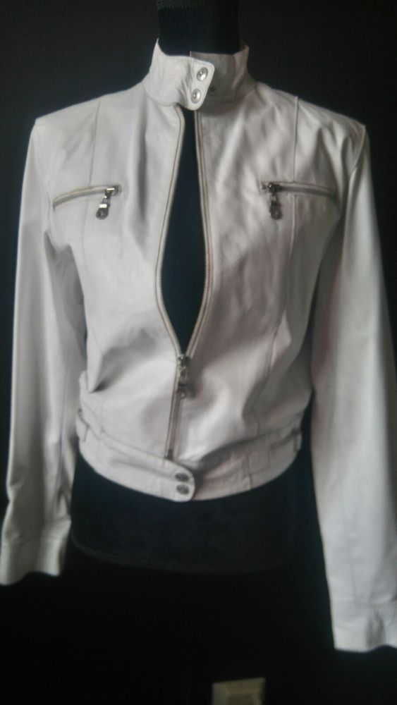 25369330a Vintage Wilsons Leather White Motorcycle Jacket Ladies size M   eBay ...