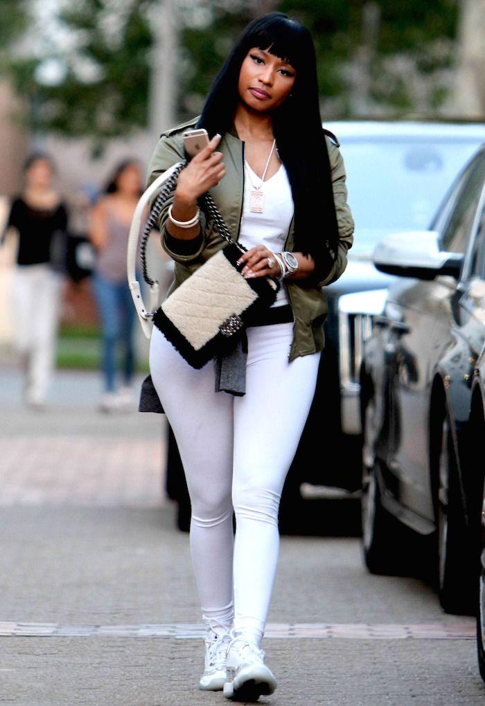 3 Nicki Minaj S Saint Laurent Olive Green Bomber Jacket