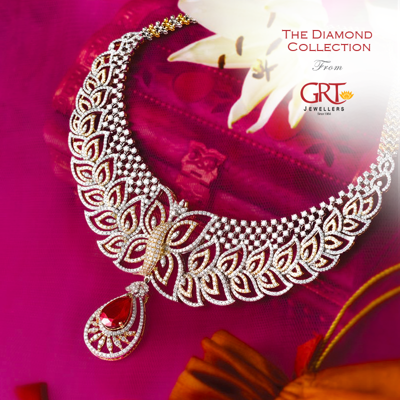 Diamond necklace diamonds pinterest diamond indian jewelry jewellery designs leafy design diamond set by grt aloadofball Images