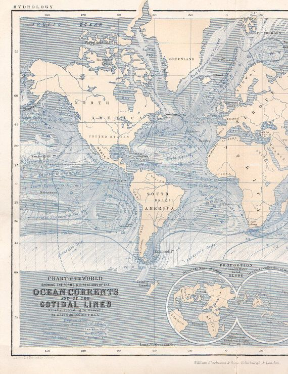World Map With Currents.Antique World Map 1878 Antique Atlas Map Ocean Currents Map Wall Map