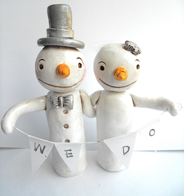 Winter Wedding Cake Topper Snowmen in Love for your Winter Wedding ...