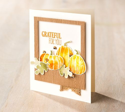 I found this on stampinup.com, Fall Fest Stamp Set, ink spritzed with water technique