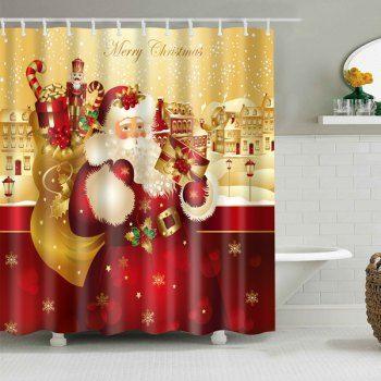 Christmas Waterproof Bath Shower Curtain