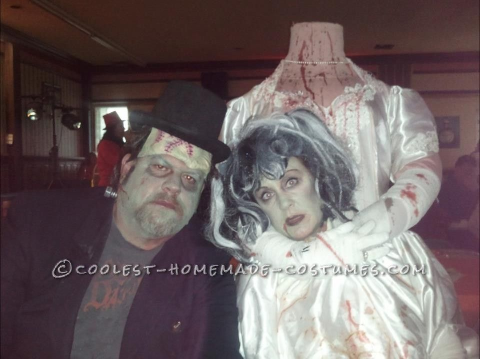Spooky Frankenstein and Headless Bride Homemade Couple Costume - scary homemade halloween costume ideas