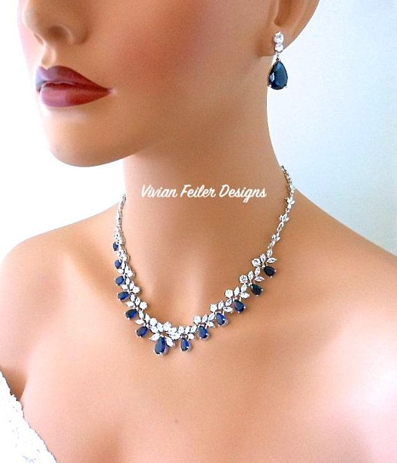 Bridal Jewelry Set Sapphire Blue Wedding Necklace And Earrings Etsy Blue Wedding Jewelry Bridal Jewelry Sets Bridesmaid Jewelry