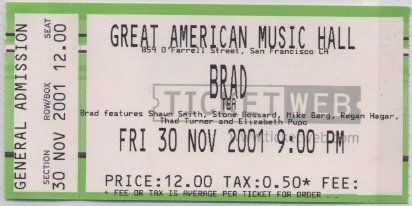 Brad at the Great American Music Hall in San Francisco, 30 Nov 2001 (ticket)