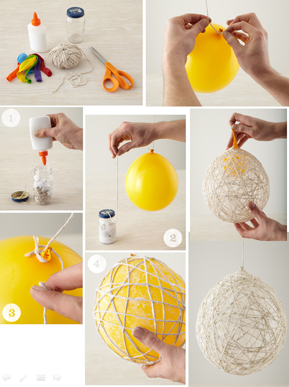 diy hanging string balls ball decorations decoration