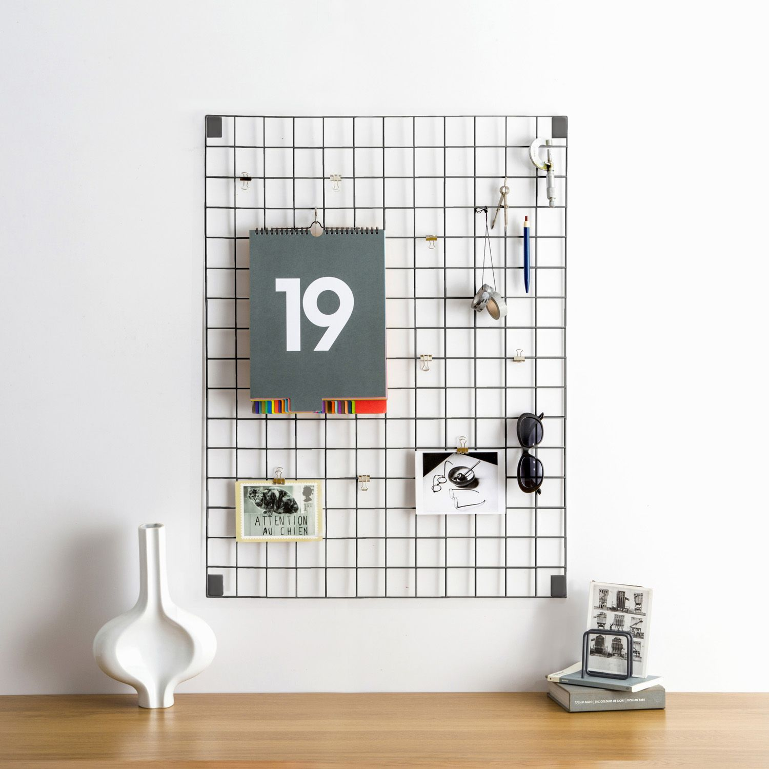 Block White Wire Mesh Memo Board. UK Designed And Made Memo Boards. Stylish