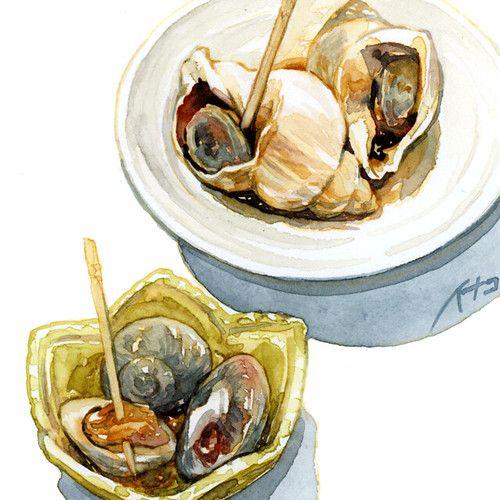 7-4c | 白バイ貝とナガラミ 22日発売の小説NON「アンテナ」第七回挿画、今回は水彩で着色してから単色化しました。… | Flickr