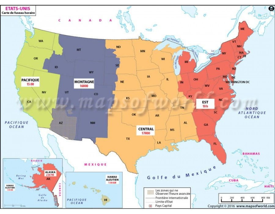 Buy USA Time Zone French Map | Time zone map, Map, Time zones