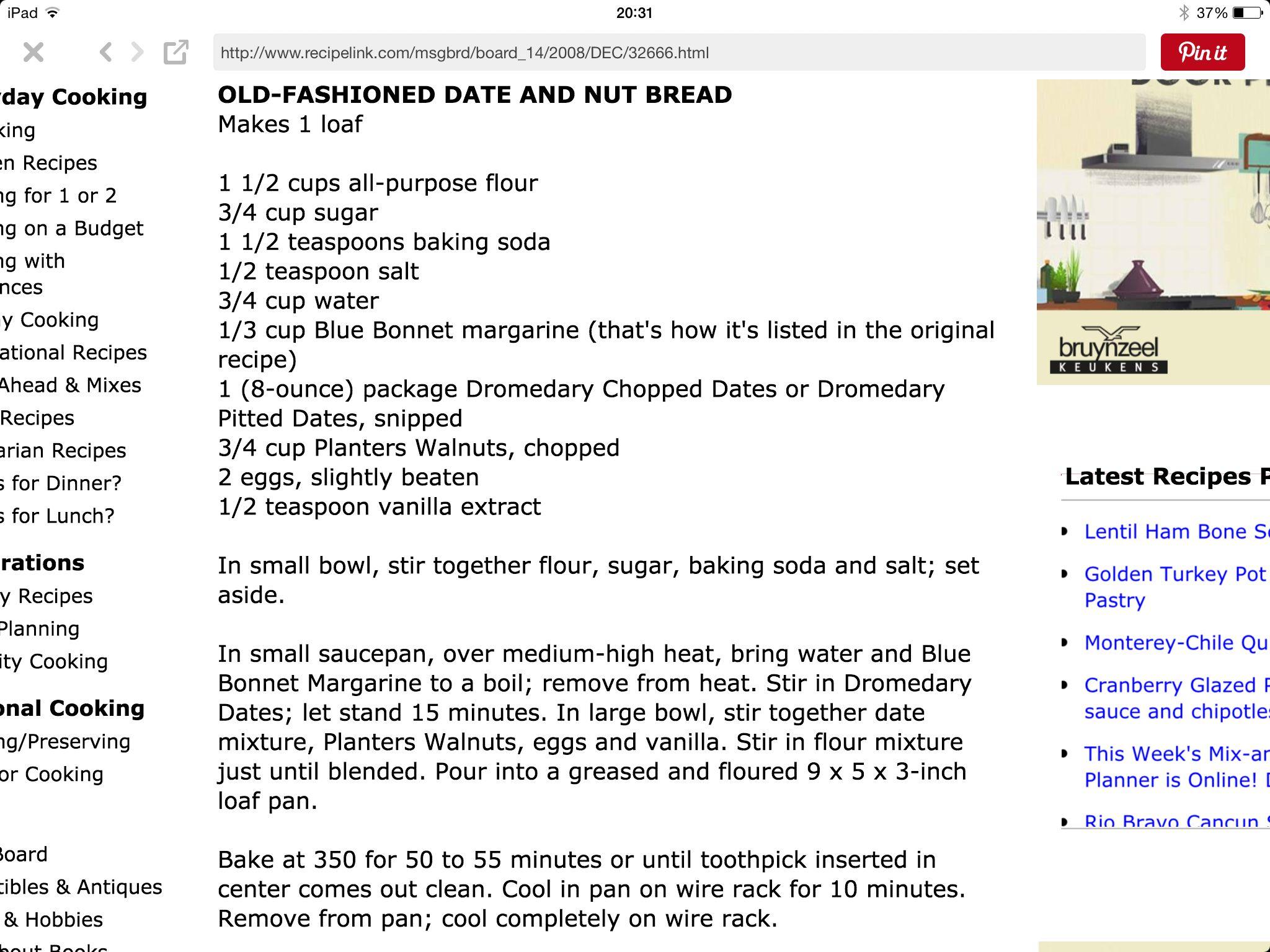 Old Fashioned Dromedary Date Nut Bread Baking In 2019 Bread