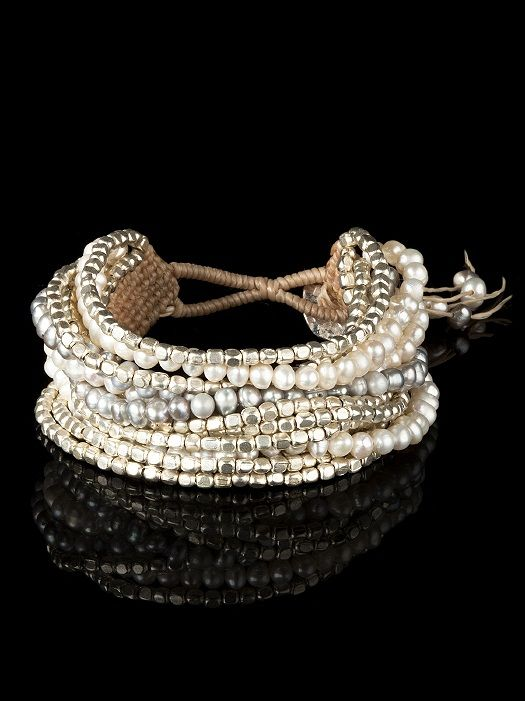 Multi Strand Bracelet Includes Warm Silver Toned Beads Gray Pearls And Ivory Adjule On Closure Ships In Gift Box 40
