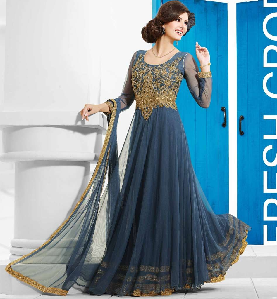 GLAMOROUS GREY FLOOR LENGTH EVENING WEAR GOWN FROM STYLISHBAZAAR VDDVN14 Indian Wedding GownsWedding Gowns OnlineIndian