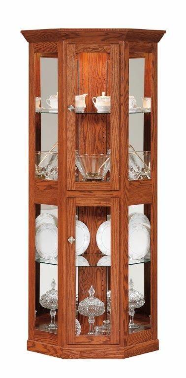Amish Small Mission Corner Curio Cabinet Crockery Cabinets