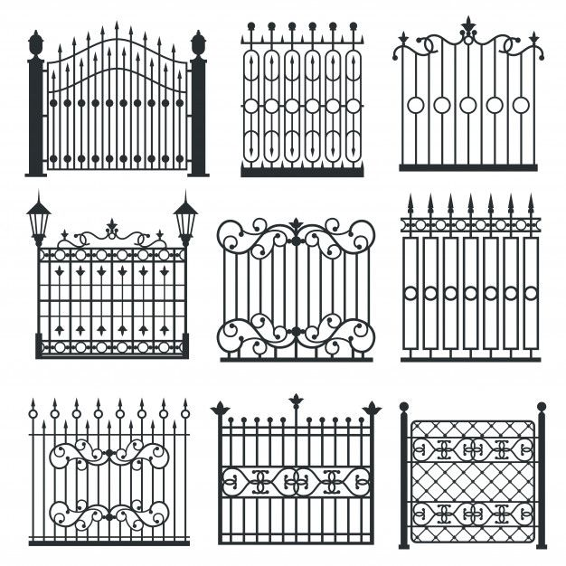 Metal Iron Gates Grilles Fences Vector Premium Vector Freepik Vector Vintage Border Ornament In 2020 Iron Gate Design Wrought Iron Gate Designs Iron Gate
