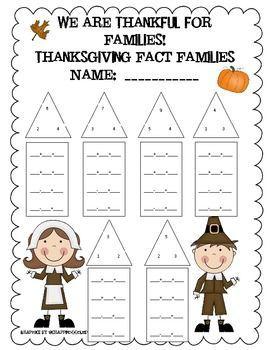 Thanksgiving Fact Family Worksheet | Wiskunde id kijker | Pinterest