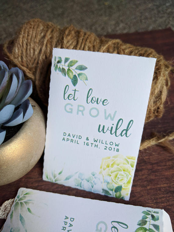 Baby Rustic Kraft Seeds Bridal Shower Seed Packets Wedding Favors Gifts Greenery Let Love Grow Wild Personalized Envelopes DIY