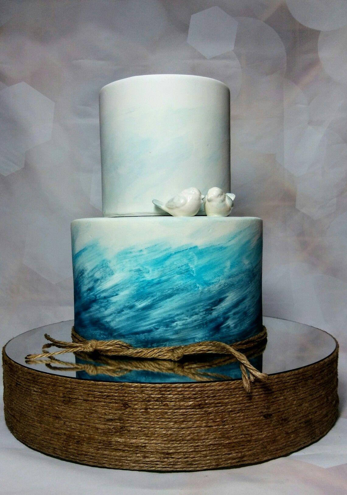 Grant and Caroline's Beach themed Wedding Cake