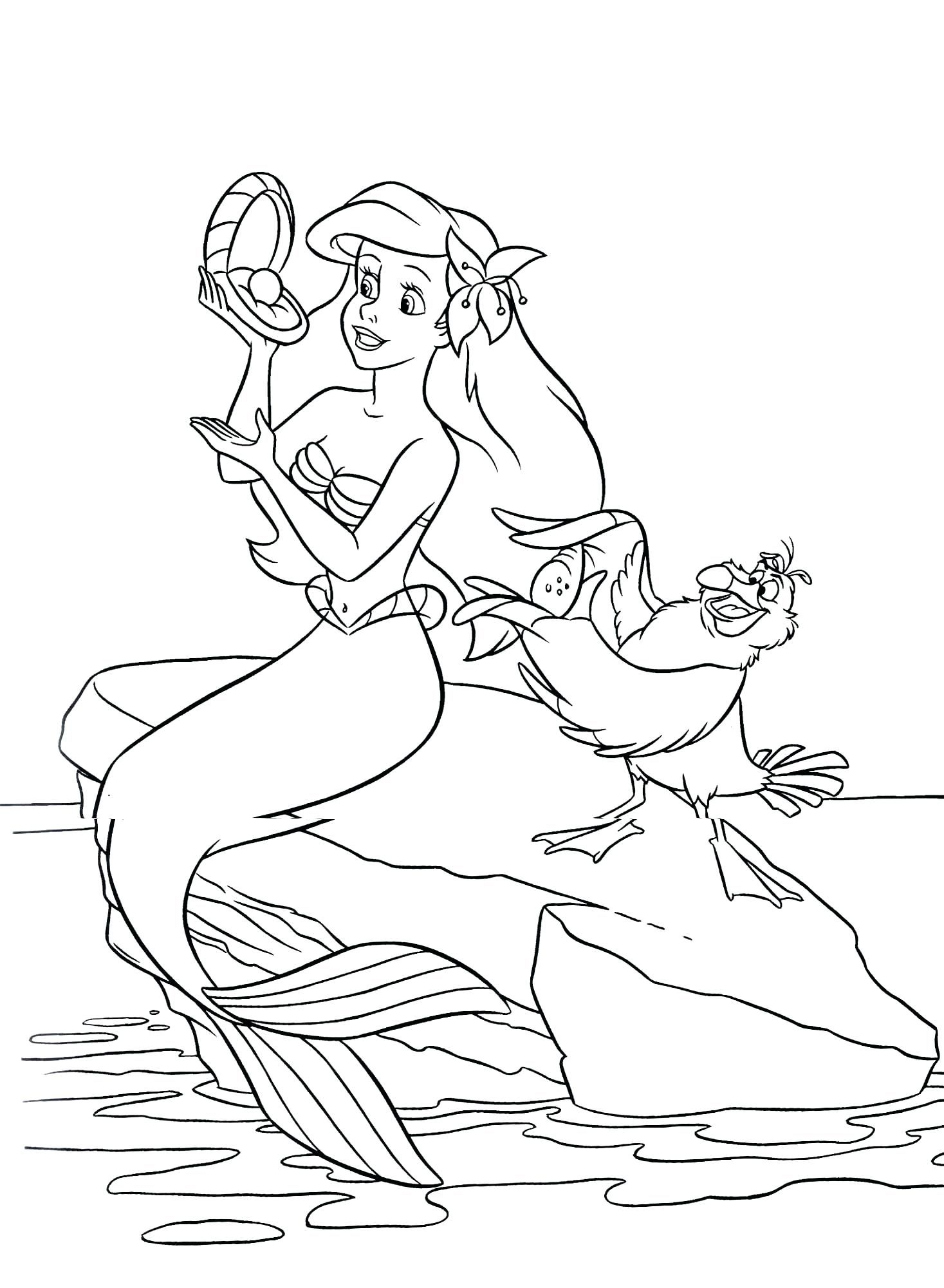 Ariel Mermaid Coloring Pages Color Little Free Easy Boat ...