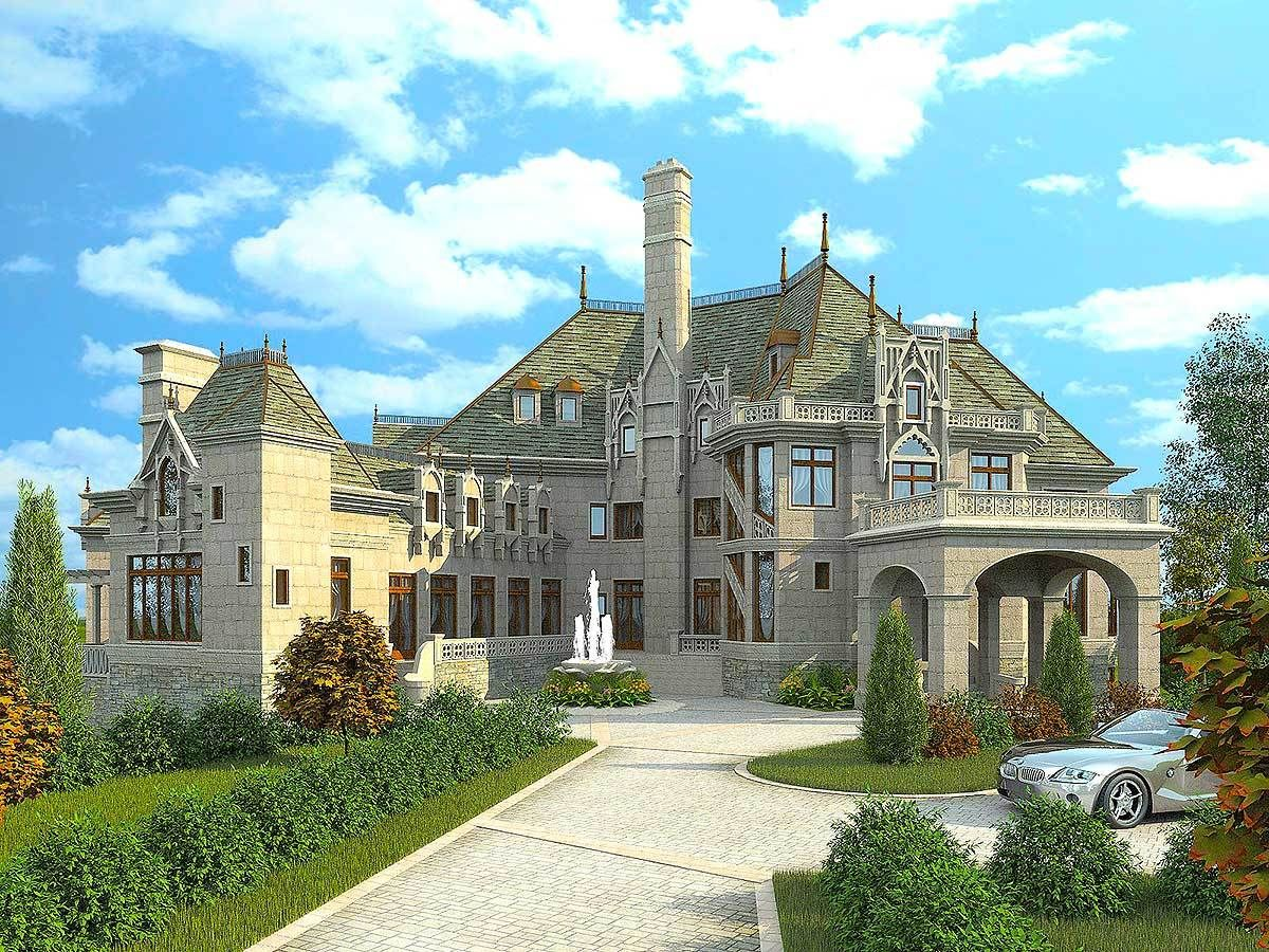 Plan 12013jl Majestic Storybook Castle Castle House Plans Luxury House Plans Castle House