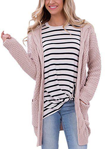GOSOPIN Women's Long Sleeve Sweater Tops Open Front Pocket