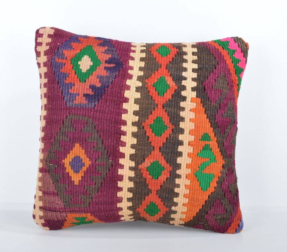 "Orange and Beige Turkish Kilim Pillow Cover 16"" (40 cm) Square Pillow Case #Turkish"