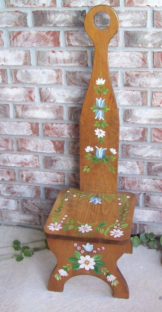 Vintage Hand Painted Wooden Chair Or Step Stool W/Hole In Handle To Hang
