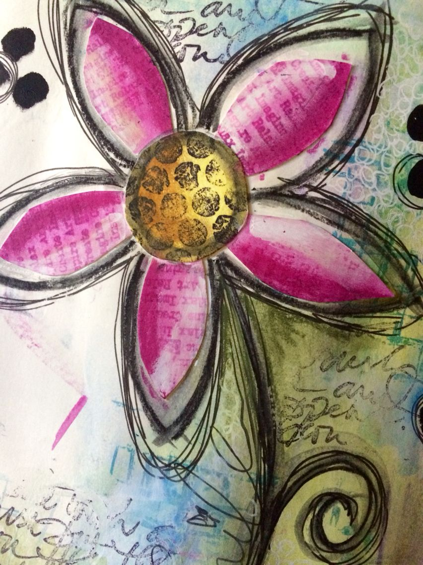 Dina inspired page @dinawakley #art #artjournal #artjournalling #artjournalpage #collage #dinawakley #dylusionsjournal #flowers #intuitiveart #intuitivepainting #journal #layers #mixedmedia #mixedmediaart #neocolors #paint #pen #stabilo #watercolour