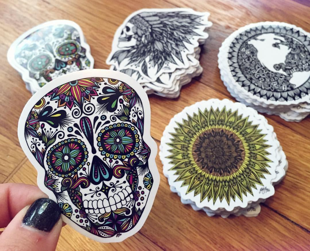 Zentangle Sugar Skull Sticker By ZenspireDesigns On Etsy