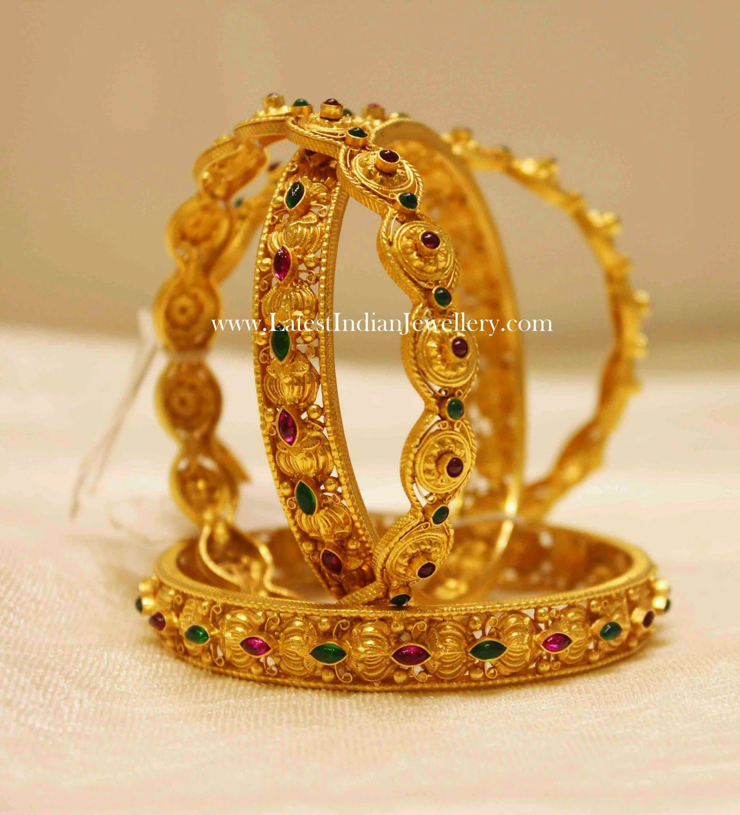 Latest Gold Bangles with Ruby Emeralds | Gold bangles, Bangle and ...