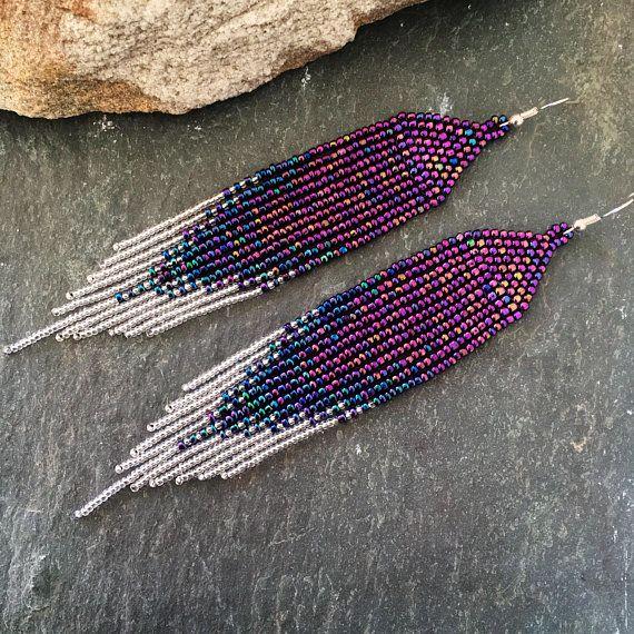 Ultra Violet Statement Earrings Long Purple Blue Silver Ombre