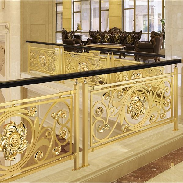 Royal Style Golden Copper Flowers Carving Stair Railing High Quality Workmanship Fence In Balustrades Stair Railing Design Home Stairs Design Railing Design