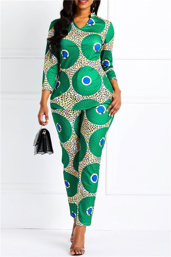 1000 Images About African Print 2 Piece Outfit On: Print Geometric Casual Pants Pullover Women's Two Piece
